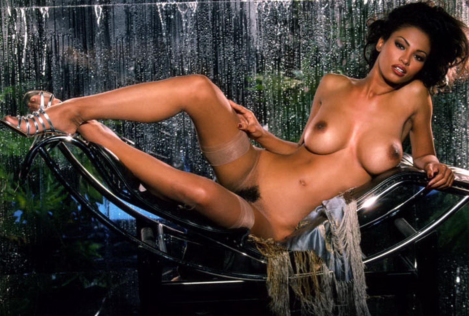 Sexy angelina brill playboy style striptease with bonus orgasm